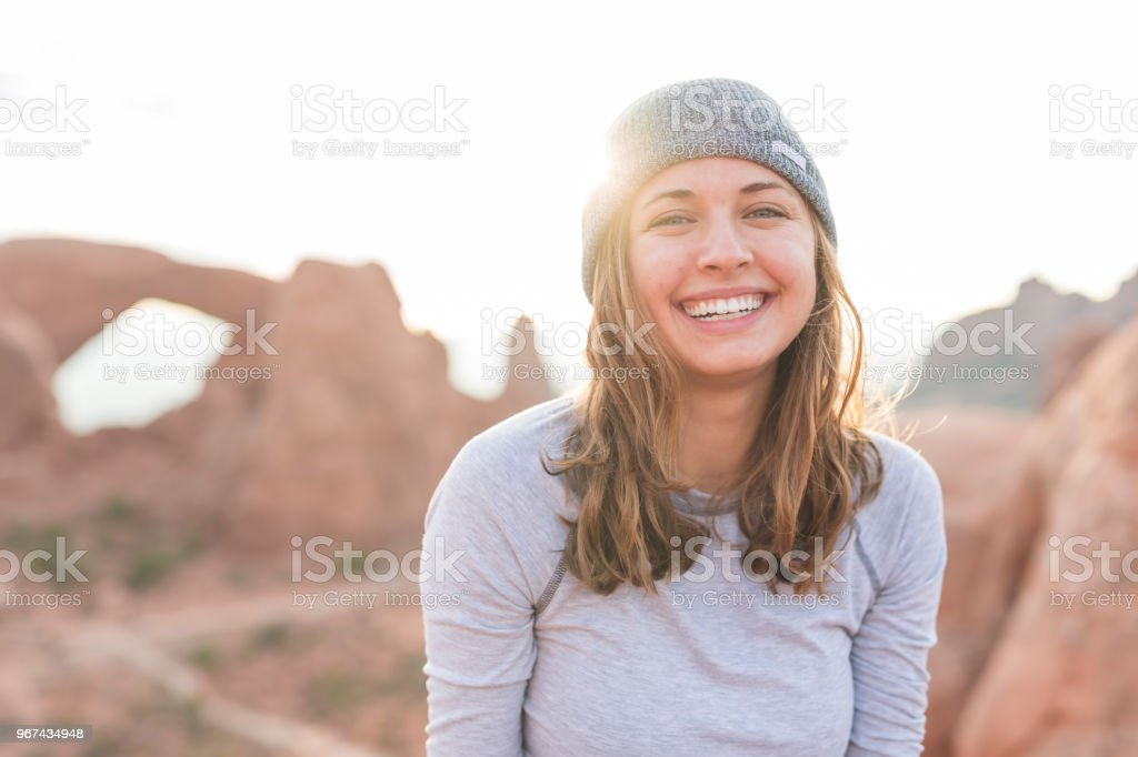 Portrait of a beautiful young female hiker in the Utah desert stock photo