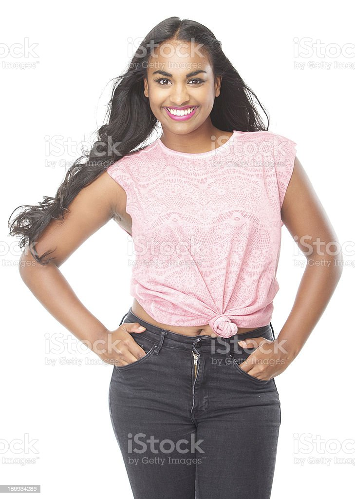 Portrait of a beautiful young female smiling royalty-free stock photo