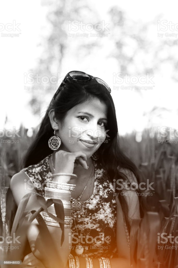 Portrait of a beautiful young Indian women in the nature stock photo