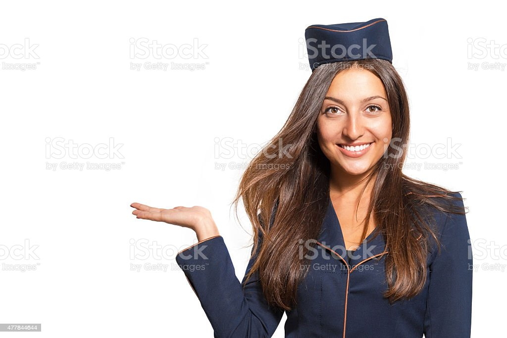 Porträt einer schönen jungen Frau gekleidet als stewardess vereinbart werden – Foto