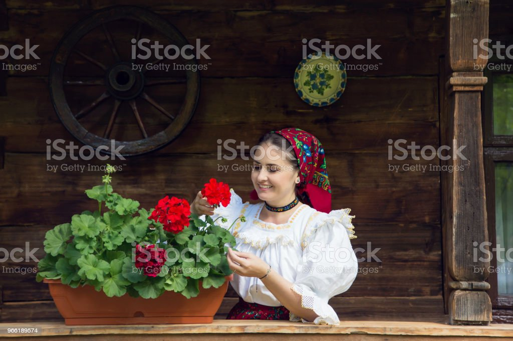 Portrait of a beautiful young woman in Maramures stock photo