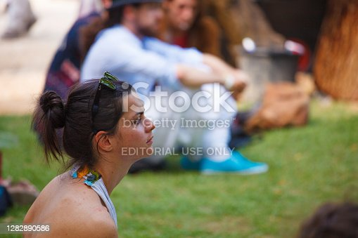 Venice, Italy - June, 02: Portrait of a Beautiful young woman listens carefully the presentation during the Venice Biennale vernissage on June 02, 2011