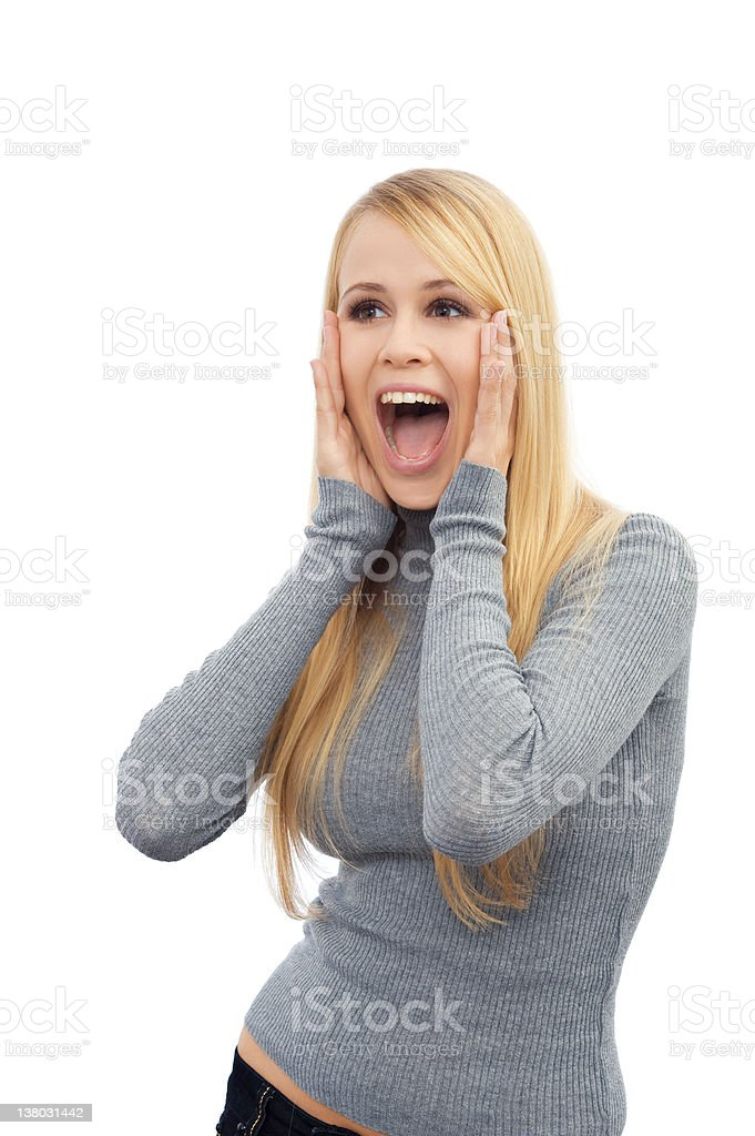 Portrait of a beautiful young woman looking excited royalty-free stock photo