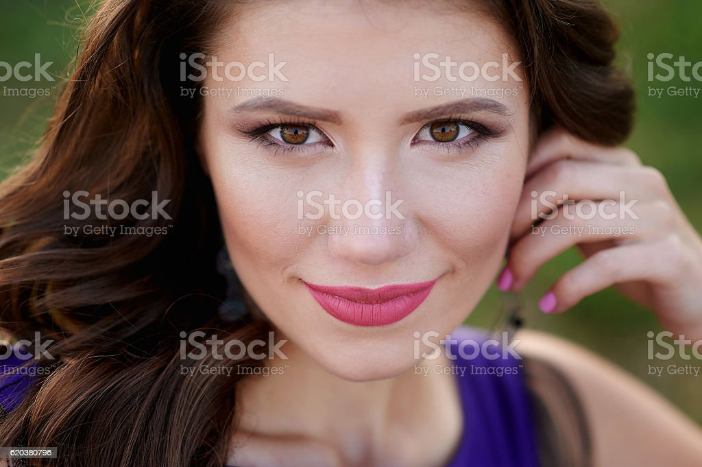 portrait of a beautiful young woman with make-up closeup zbiór zdjęć royalty-free