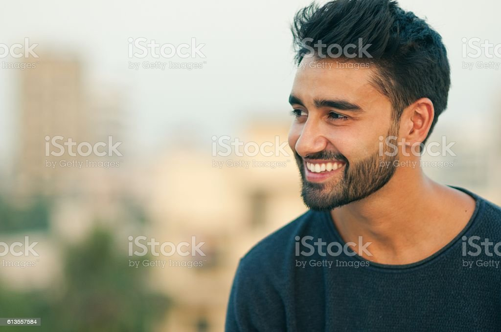 Portrait of a beautifull smiling man. stock photo