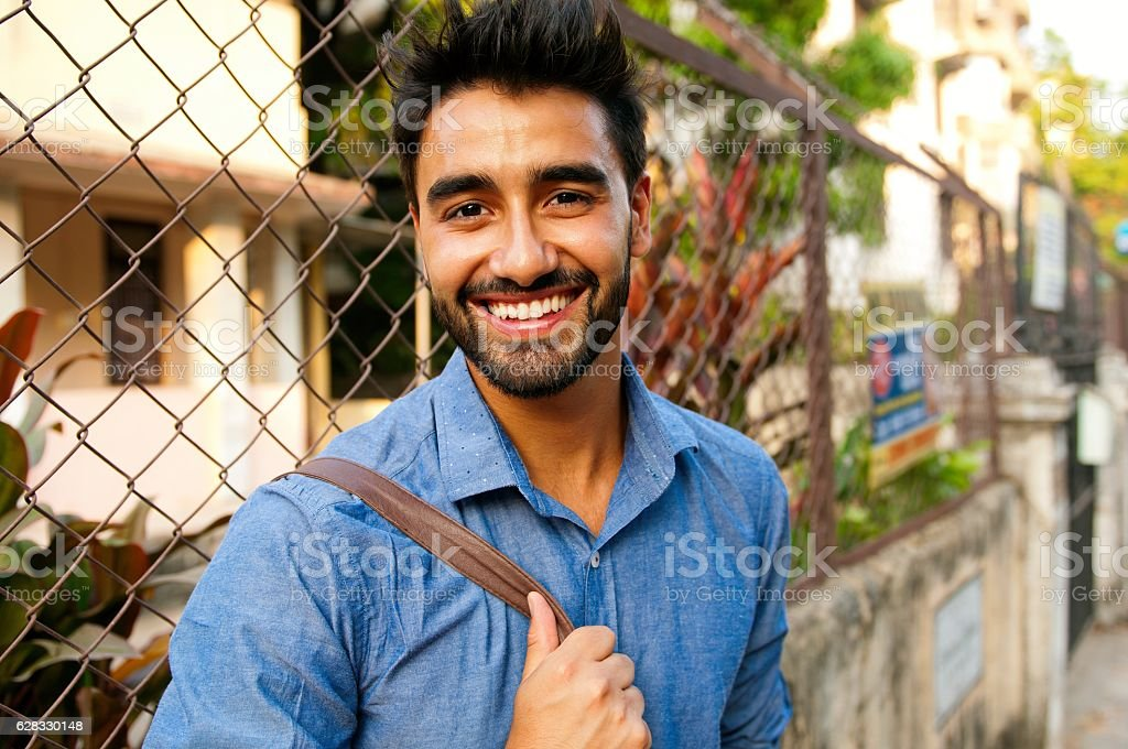 Portrait of a beautifull smiling man. stock photo