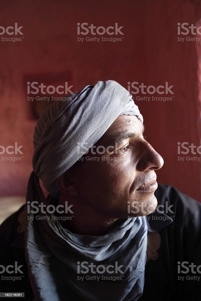 Portrait of a Berber in his house, Morocco royalty-free stock photo