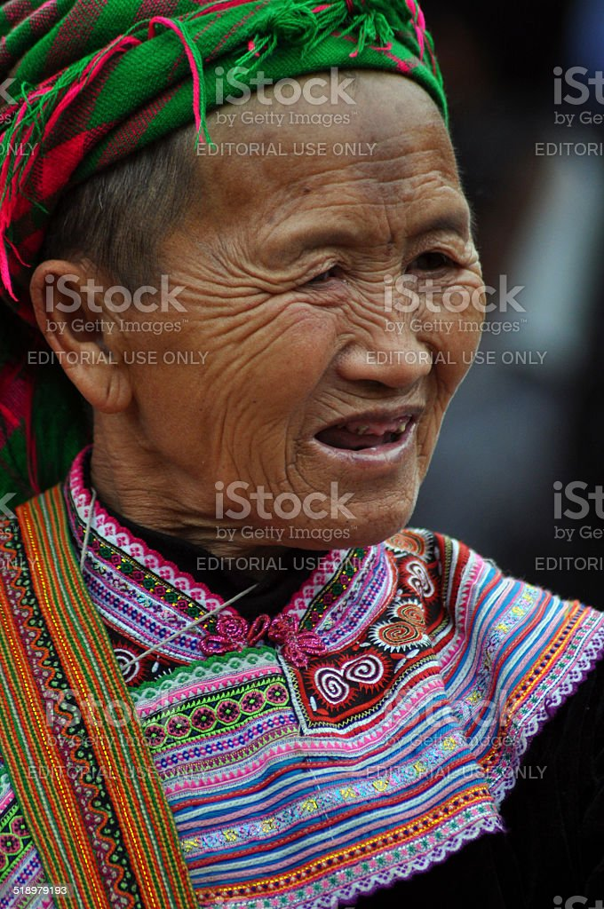 Portrait of a Black H'mong woman in Vietnam stock photo