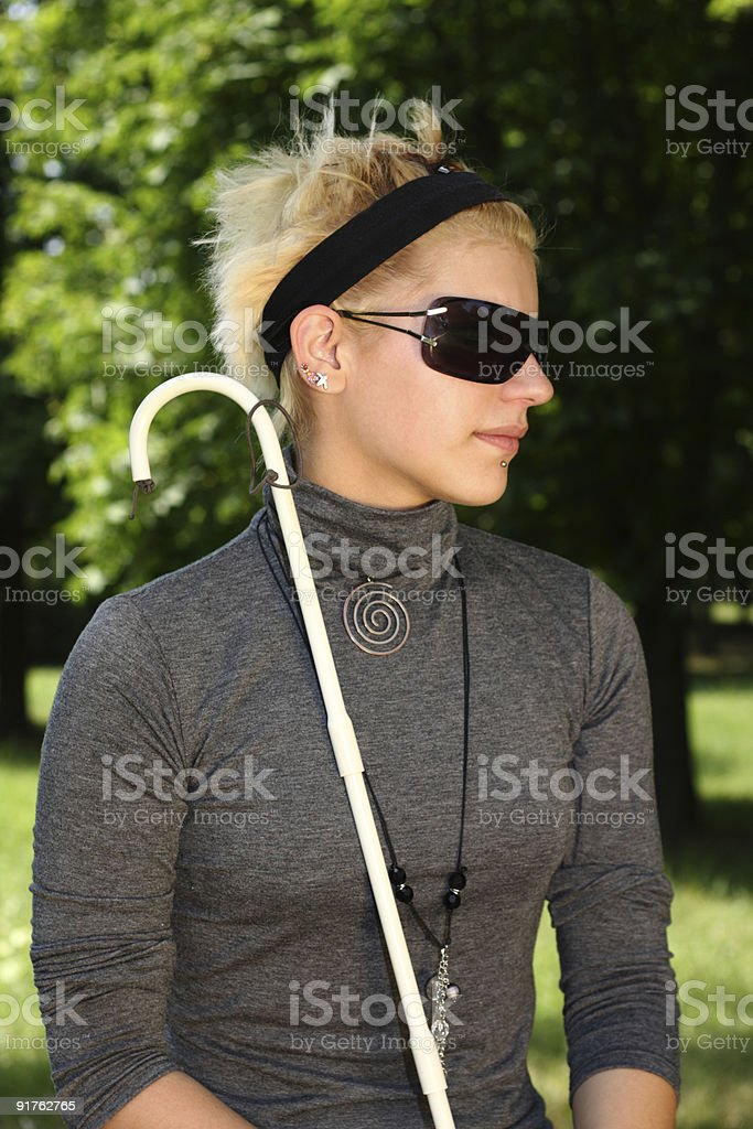 portrait of a blind girl stock photo