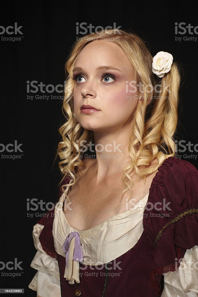 Portrait of a blond woman in baroque costume royalty-free stock photo