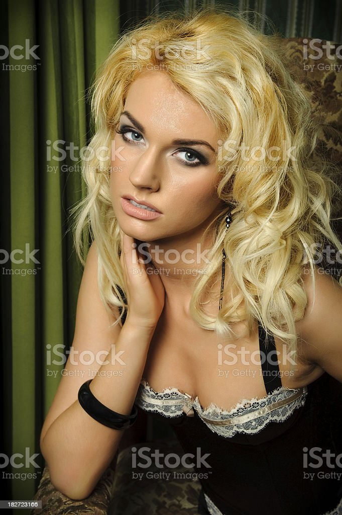 Portrait of a blonde beauty in lingerie royalty-free stock photo