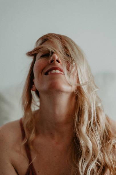 Portrait of a blonde woman stock photo