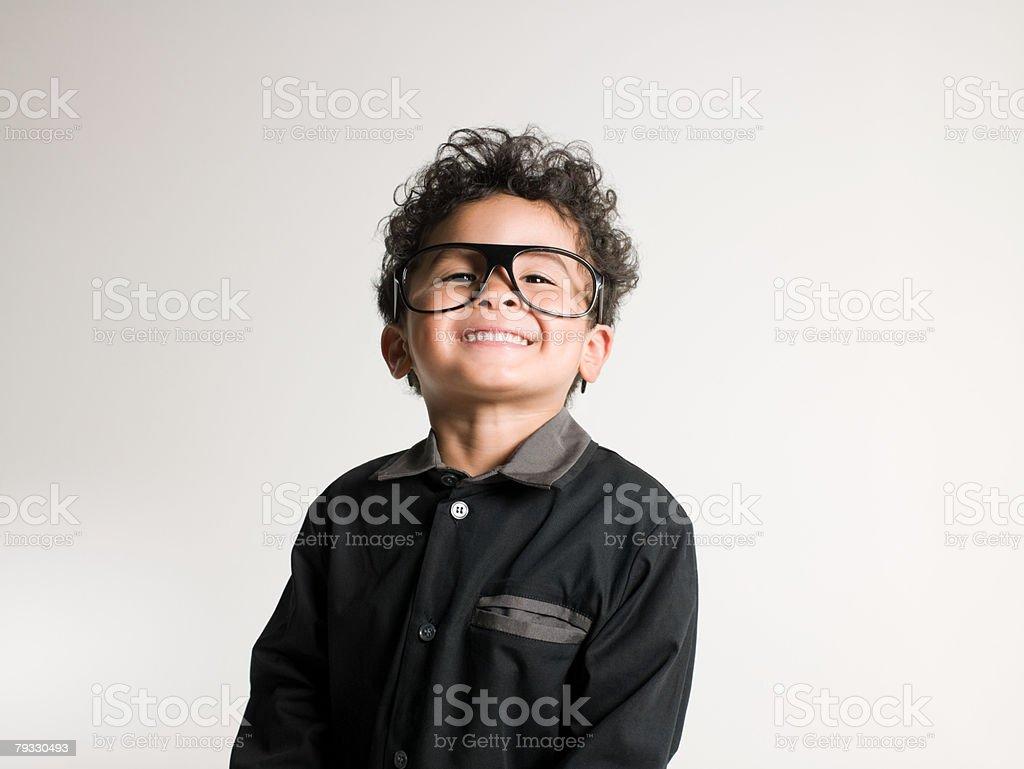 少年のポートレートを着て、眼鏡 ロイヤリティフリーストックフォト