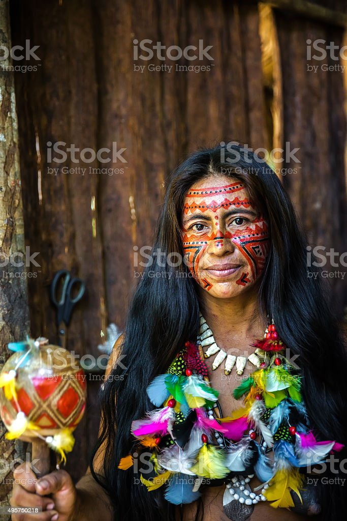 Portrait of a Brazilian Indian in Amazon, Brazil stock photo