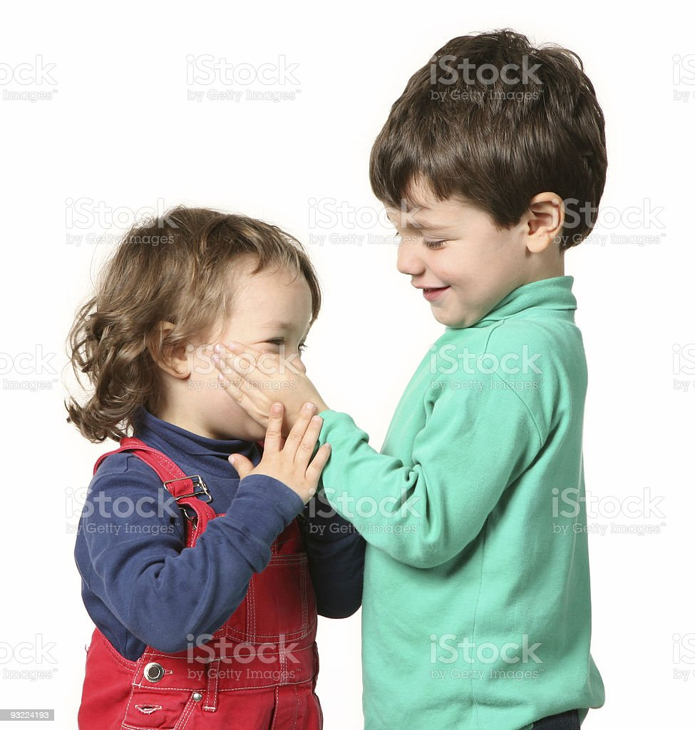 Portrait Adorable Brother Sister Teenagers Smiling Stock