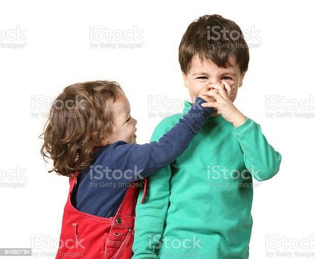Portrait Adorable Happy Sister Brother Fashionable Stock
