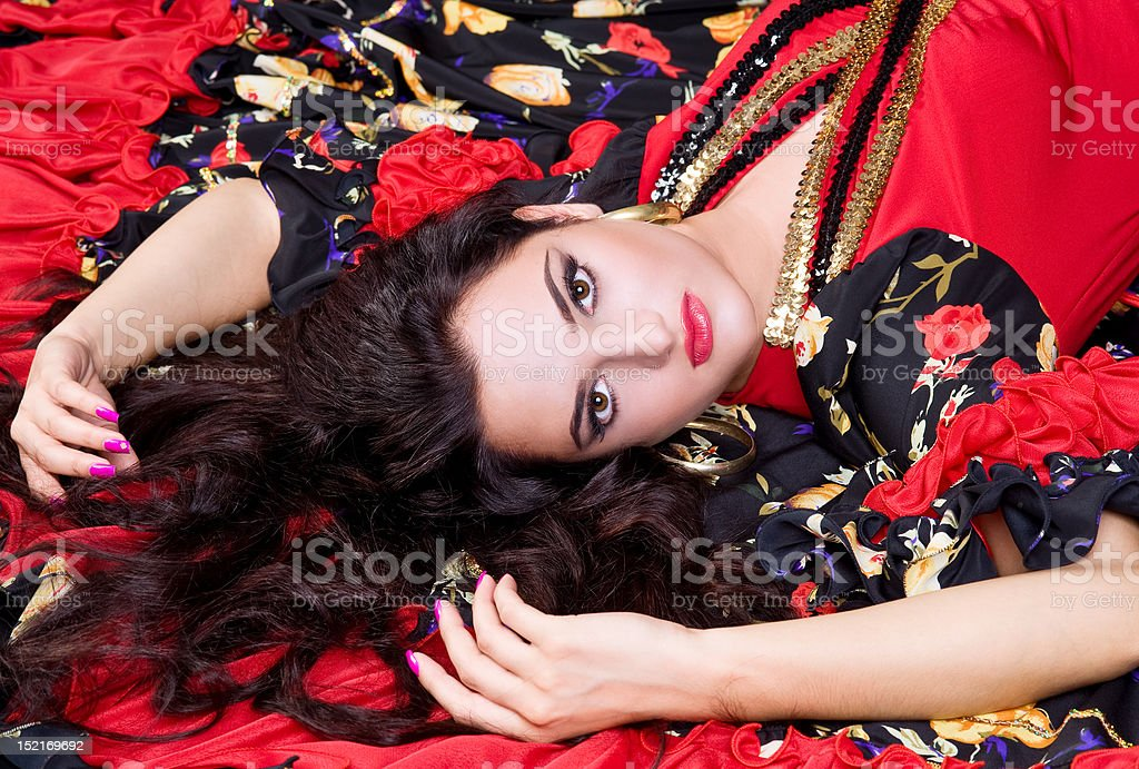 Portrait of a brunette woman with bright makeup royalty-free stock photo