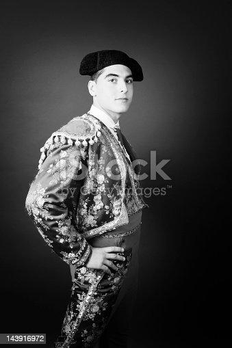 Portrait of a Bullfighter. Retro style portrait, grain added to enhance retro feeling.