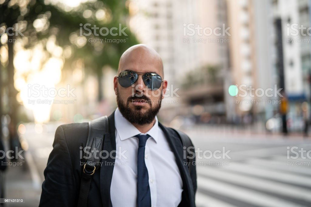 Portrait of a Business man at city stock photo