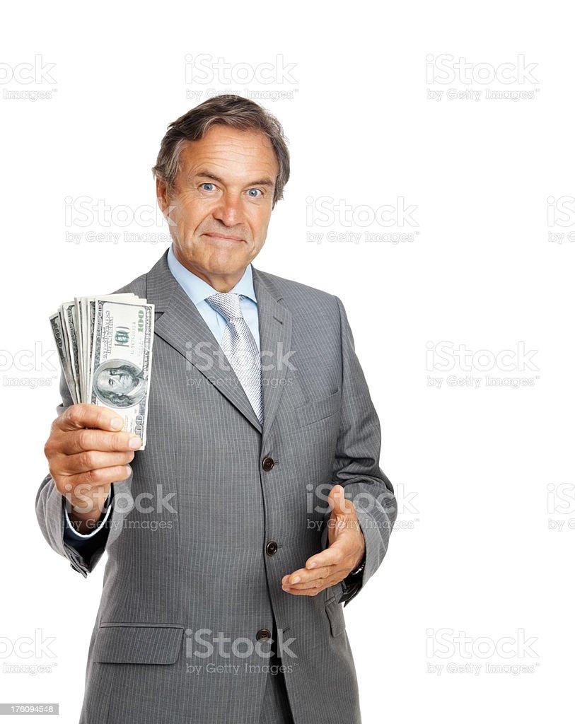 Portrait of a businessman holding cash stock photo