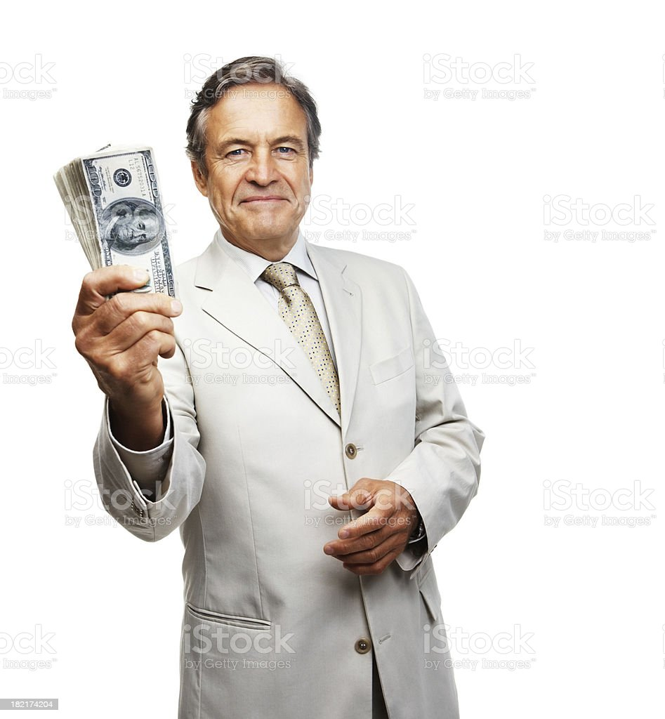 Portrait of a businessman holding money royalty-free stock photo