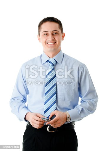 179607668istockphoto Portrait of a businessman smiling, isolated on white 185321460