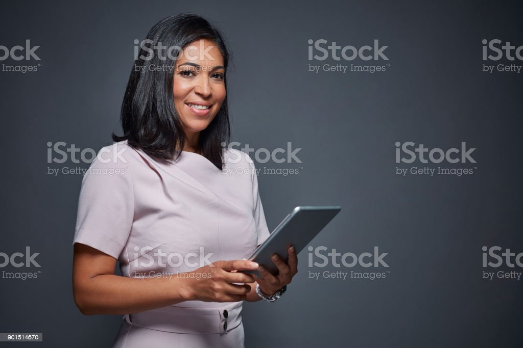 Portrait of a businesswoman at studio stock photo