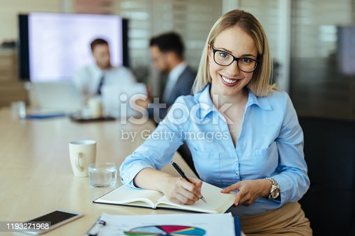 Portrait of a businesswoman at work with financial reports