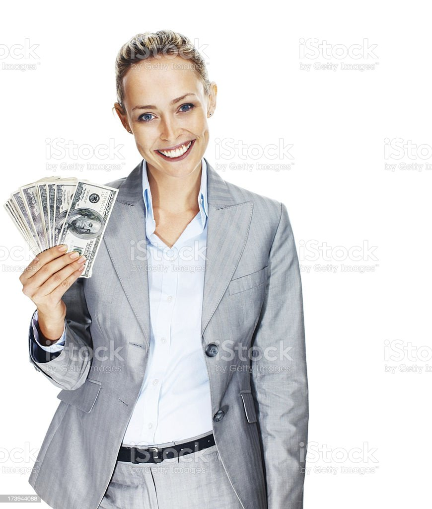 Portrait of a businesswoman holding US paper currency royalty-free stock photo