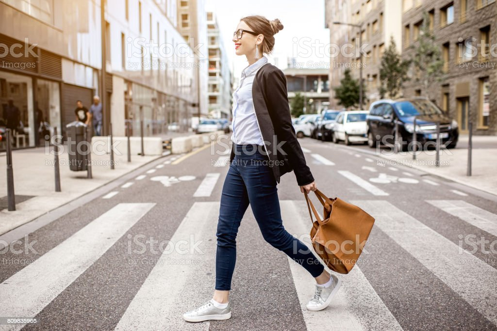 Portrait of a businesswoman outdoors stock photo