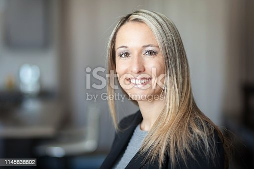 istock Portrait Of A Businesswoman Smiling At The Camera 1145838802