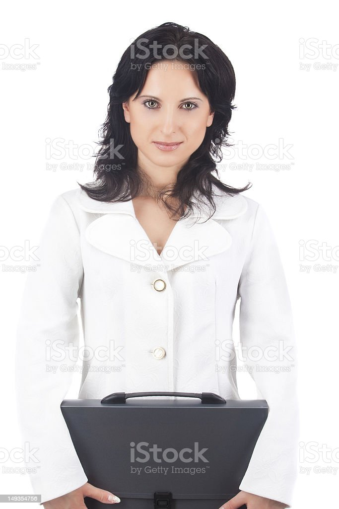 portrait of a businesswoman with briefcase stock photo