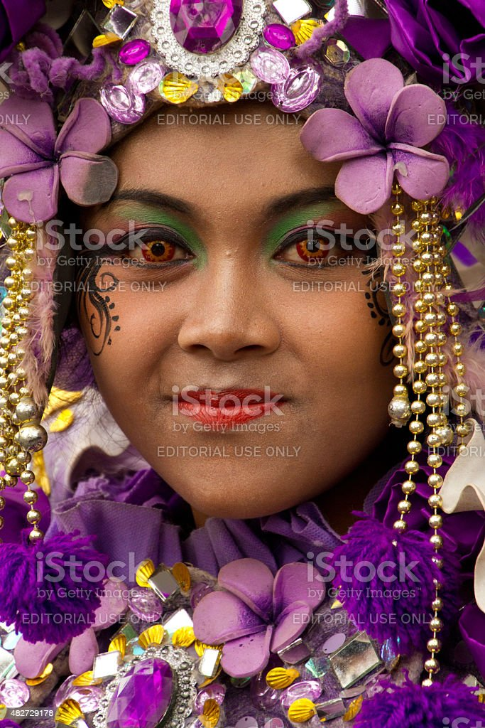 Portrait Of A Carnival Woman In Purple Of Malang Indonesia Stock Photo More Pictures Of 2015 Istock