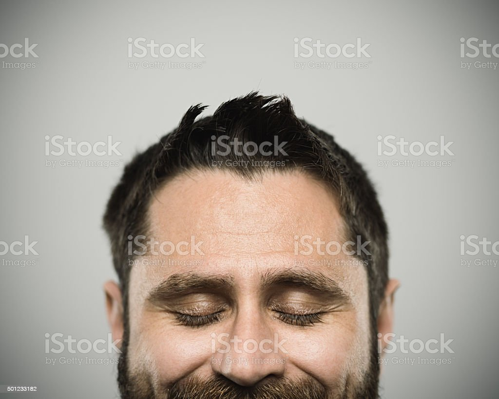 Portrait of a caucasian real young man stock photo