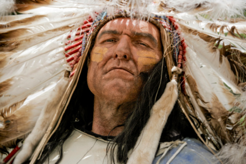 A Portrait Of A Charismatic Native American Chief Stock Photo - Download Image Now