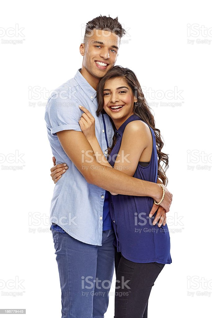 Portrait of a charming young couple embracing royalty-free stock photo