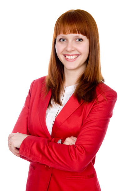 Portrait of a cheerful business woman in a red jacket stock photo