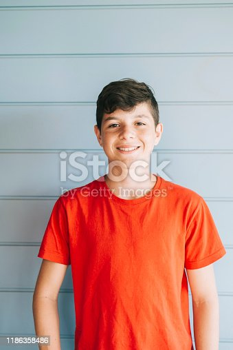 Portrait of a cheerful male teen leaning on wood wall while looking camera in a sunny day