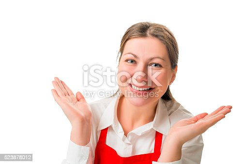 istock portrait of a cheerful pretty girl in red apron, isolated 523878012