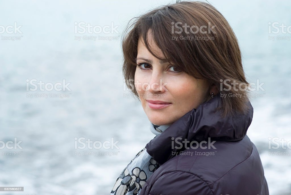Portrait of a cheerful woman stock photo
