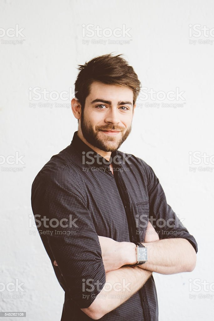 Portrait of a cheerful young man stock photo