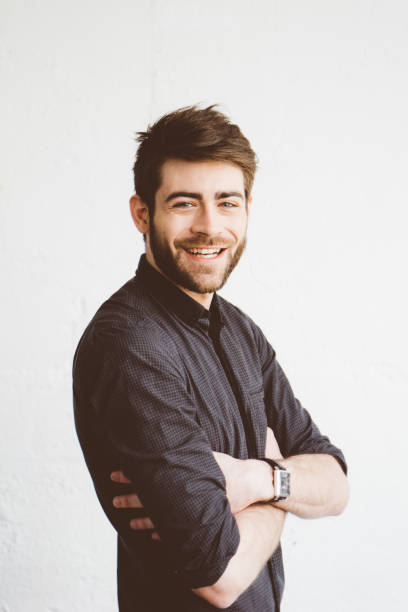 portrait of a cheerful young man - profile photo bildbanksfoton och bilder
