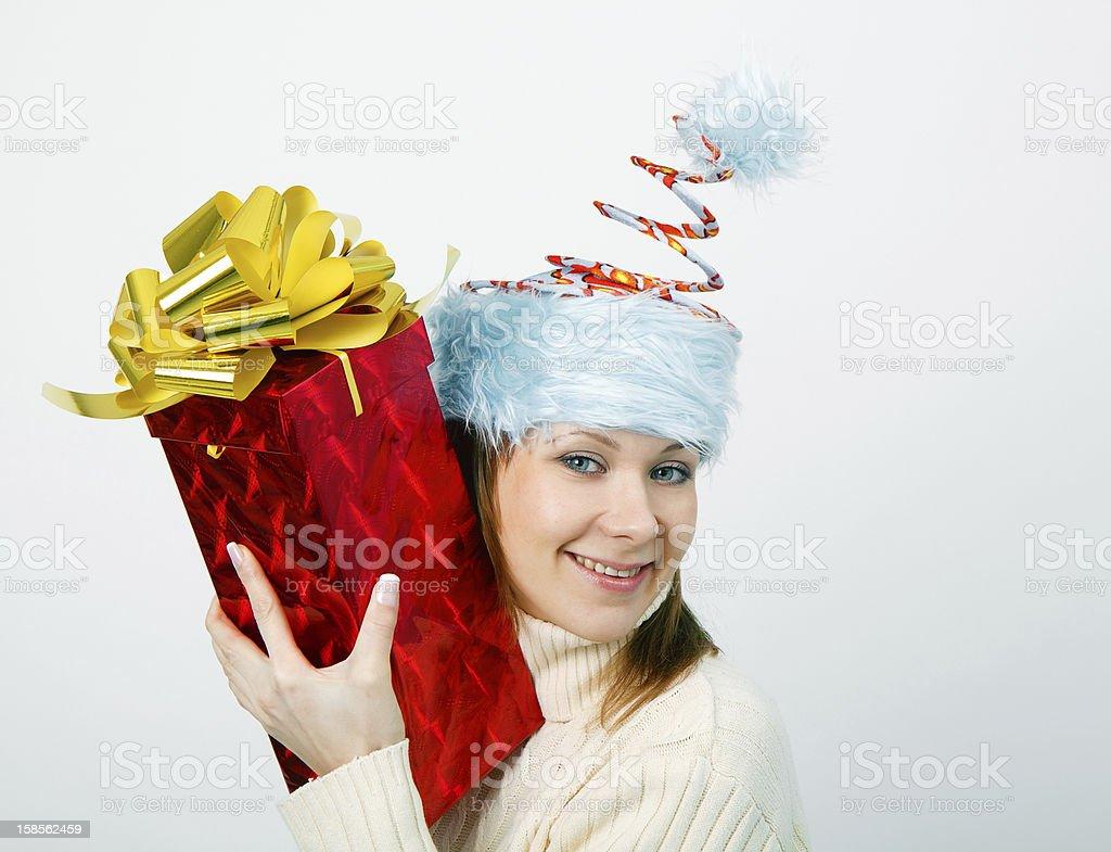 인물 사진 활기참 젊은 여자 크리스마스 재미있는 모자 royalty-free 스톡 사진