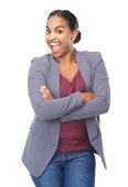 istock Portrait of a cheerful young woman laughing 184737726