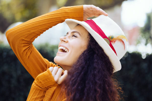 Portrait of a cheerful young woman stock photo