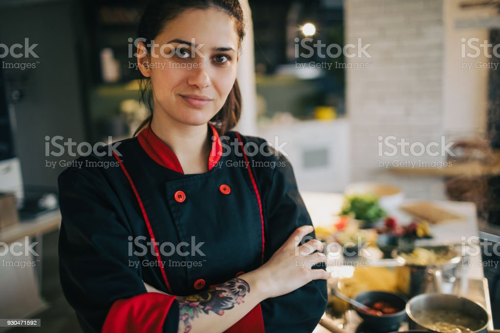Portrait of a chef stock photo