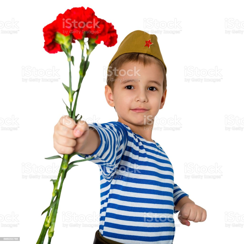 Portrait of a child in military uniform with flowers in hands. May 9 is Victory Day. stock photo