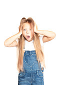 The child is scared of surprise on an isolated white background. Shaggy long hair and open mouth with fear.