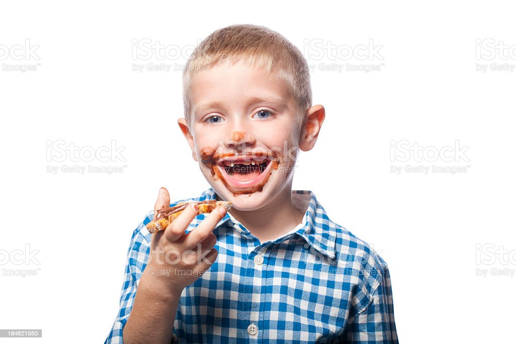 Portrait of a child with chocolate bread royalty-free stock photo