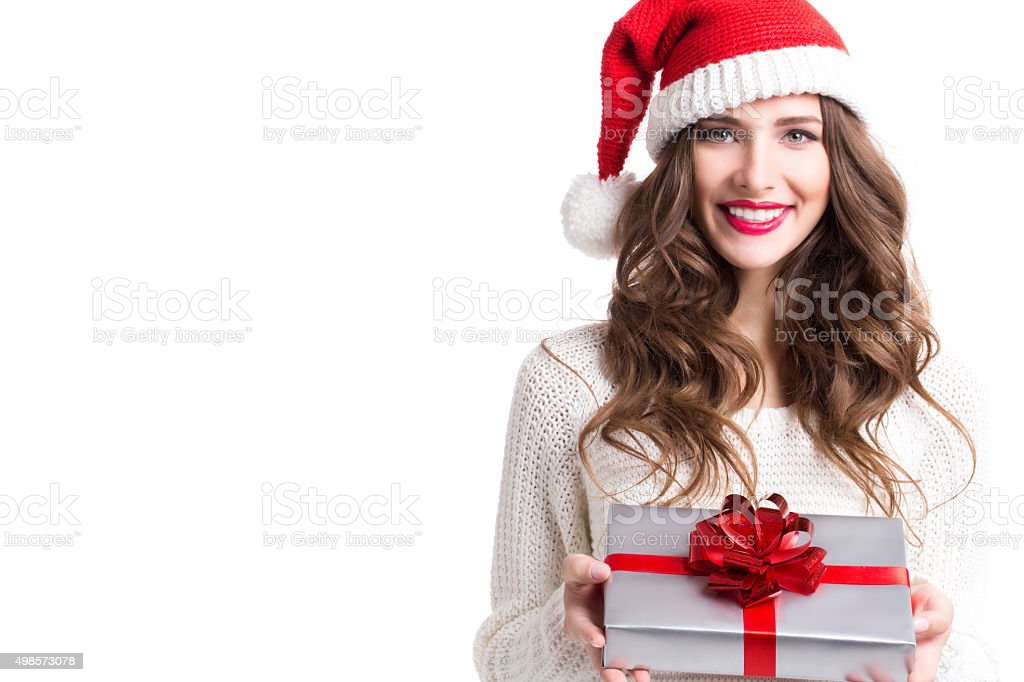 Portrait of a Christmas woman. stock photo